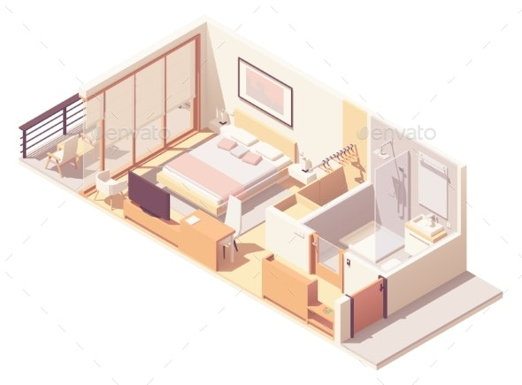Vector Isometric Hotel Room Cross-Section - Buildings Objects