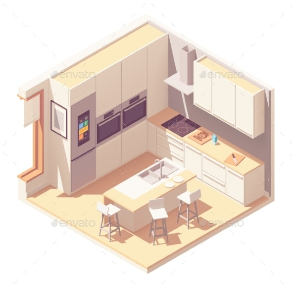 Vector Isometric Kitchen Interior - Buildings Objects
