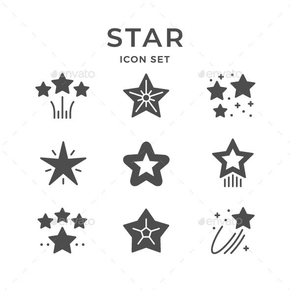 Set Icons of Star - Man-made objects Objects