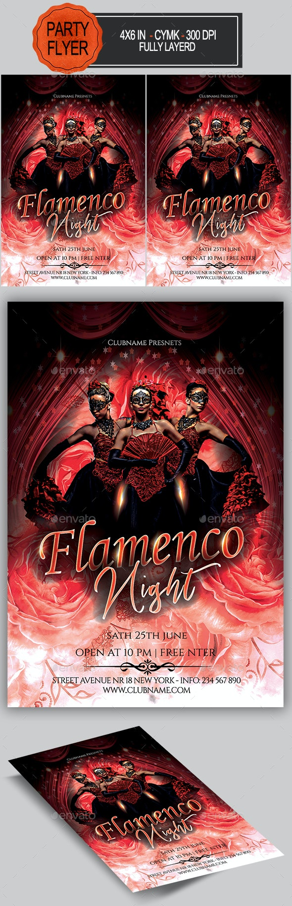 Flamenco Night Flyer - Clubs & Parties Events
