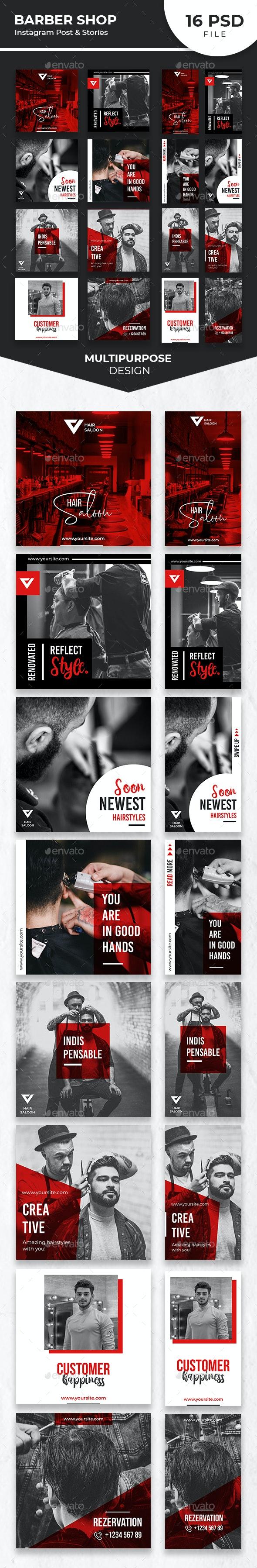 Barber Shop Instagram Post and Stories - Social Media Web Elements