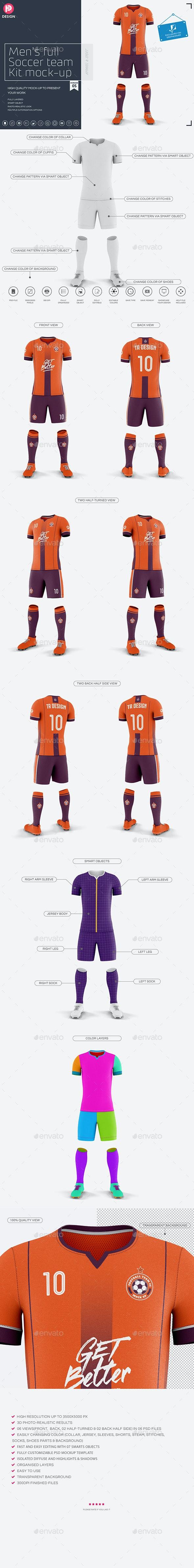 Men's Full Soccer Team Kit Mockup V5 - Miscellaneous Product Mock-Ups