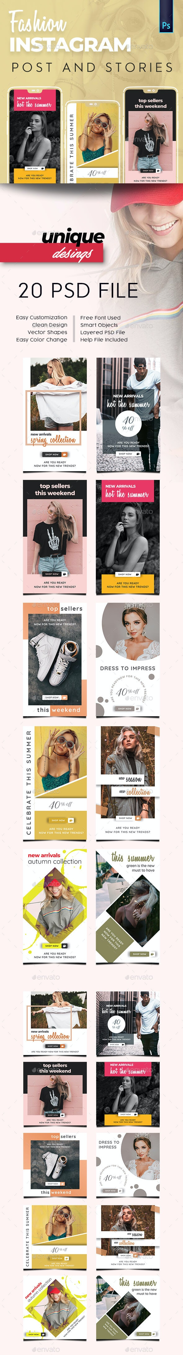 Fashion Instagram Post and Stories - Social Media Web Elements