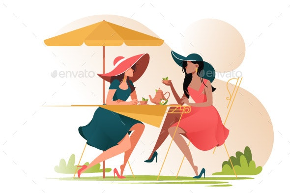 Flat Young Girl Friends in Cafe on Meeting - Food Objects