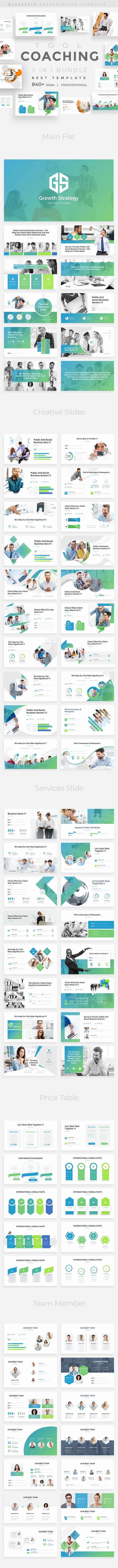 Coaching Tool 3 in 1 Pitch Deck Bundle Powerpoint Template - Business PowerPoint Templates