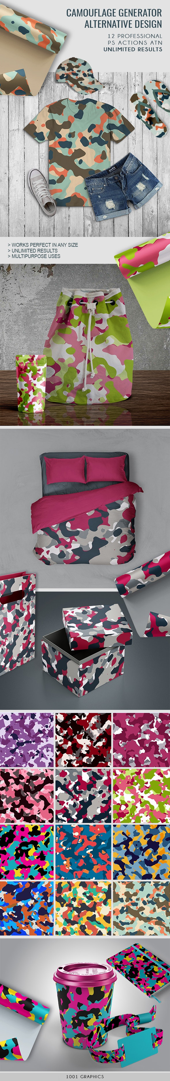Alternative Camouflage Design Generator - 12 PS Actions - Actions Photoshop