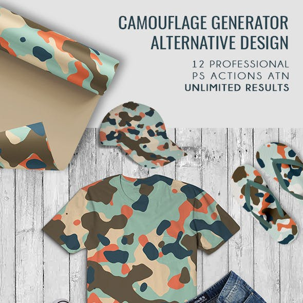 Alternative Camouflage Design Generator - 12 PS Actions -  PS 2018