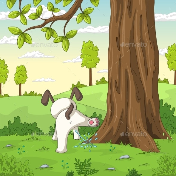 Young Dog Is Peeing on a Tree - Animals Characters