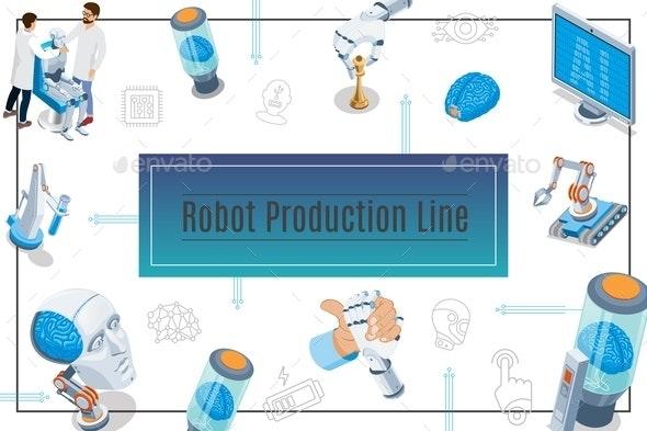 Isometric Artificial Intelligence Concept - Miscellaneous Vectors