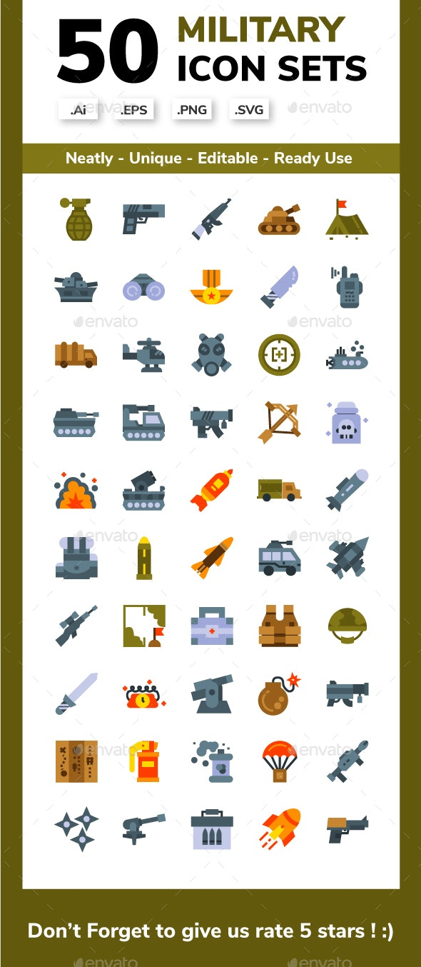 Military Flat Icon set - Miscellaneous Icons