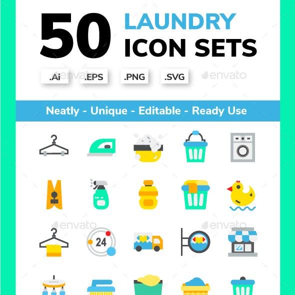 Laundry Flat Icon Set