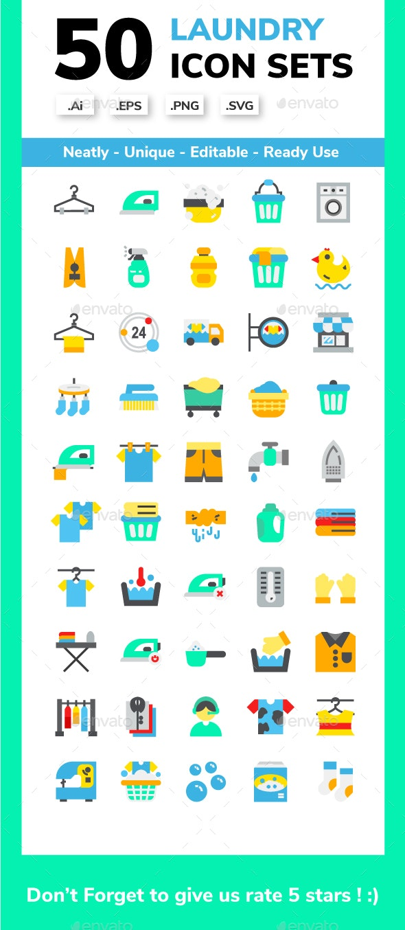 Laundry Flat Icon Set - Miscellaneous Icons