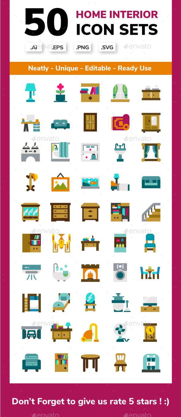 Home Interior Flat Icon Set - Buildings Objects