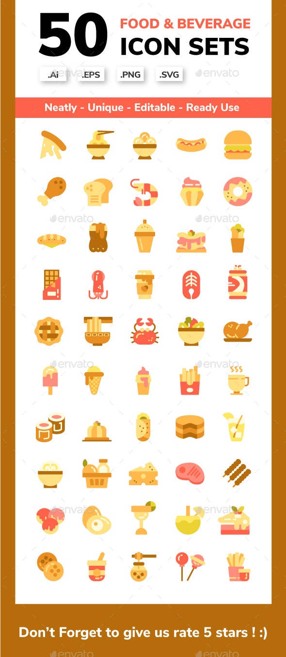 Food and Beverage Flat Icon set - Food Objects