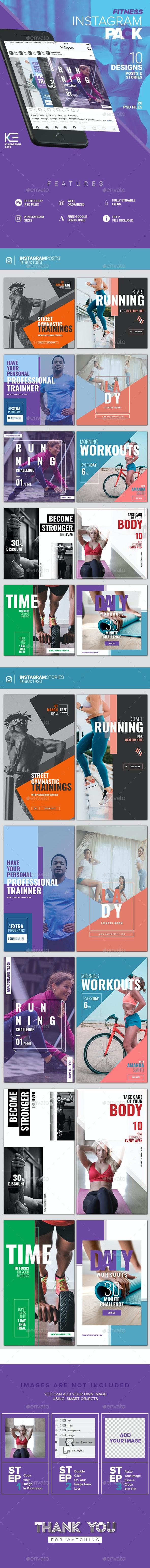 10 Instagram Fitness Posts & Stories - Social Media Web Elements