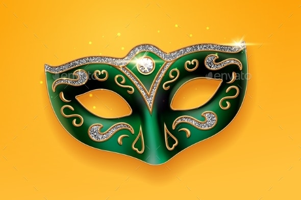 Green Mask Decorated with Diamonds - Miscellaneous Seasons/Holidays