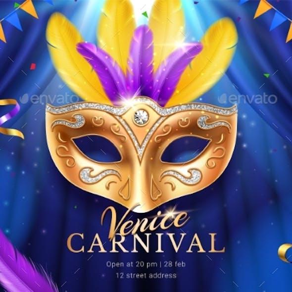 Carnival Mask at Mardi Gras Parade Banner