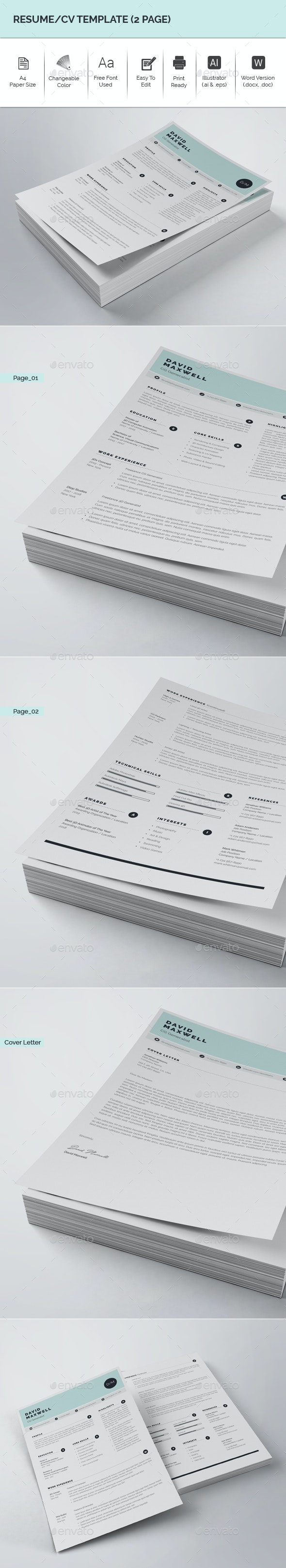 Resume/CV Template (2 Page) - Resumes Stationery