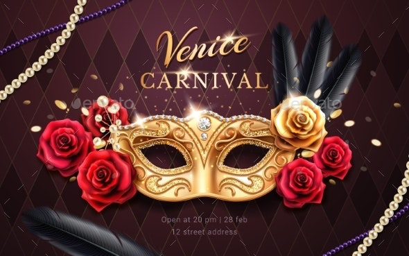 Mardi Gras Carnival Banner Flyer with Mask - Miscellaneous Seasons/Holidays