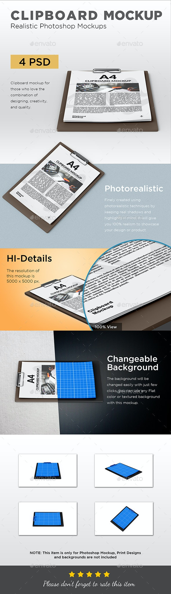 Clipboard With Papers Mockup - Stationery Print