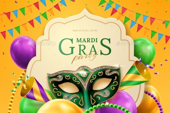 Party Hat and Masquerade Mask at Mardi Gras Banner - Miscellaneous Seasons/Holidays