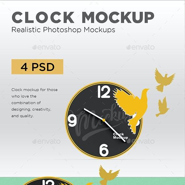 Clock With Birds Cutout Mockup