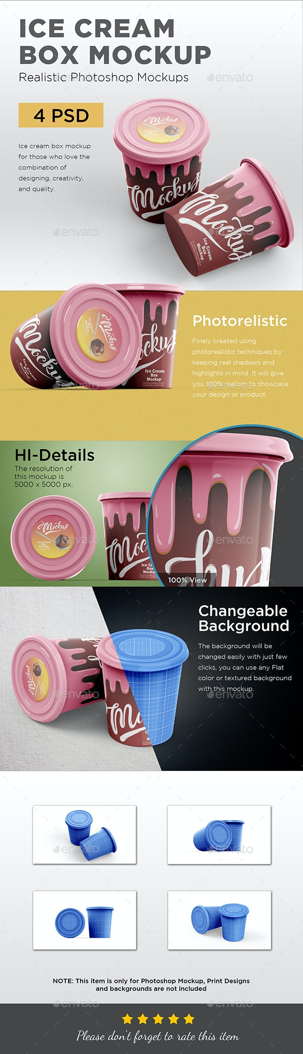 Ice Cream Box Mockup - Food and Drink Packaging