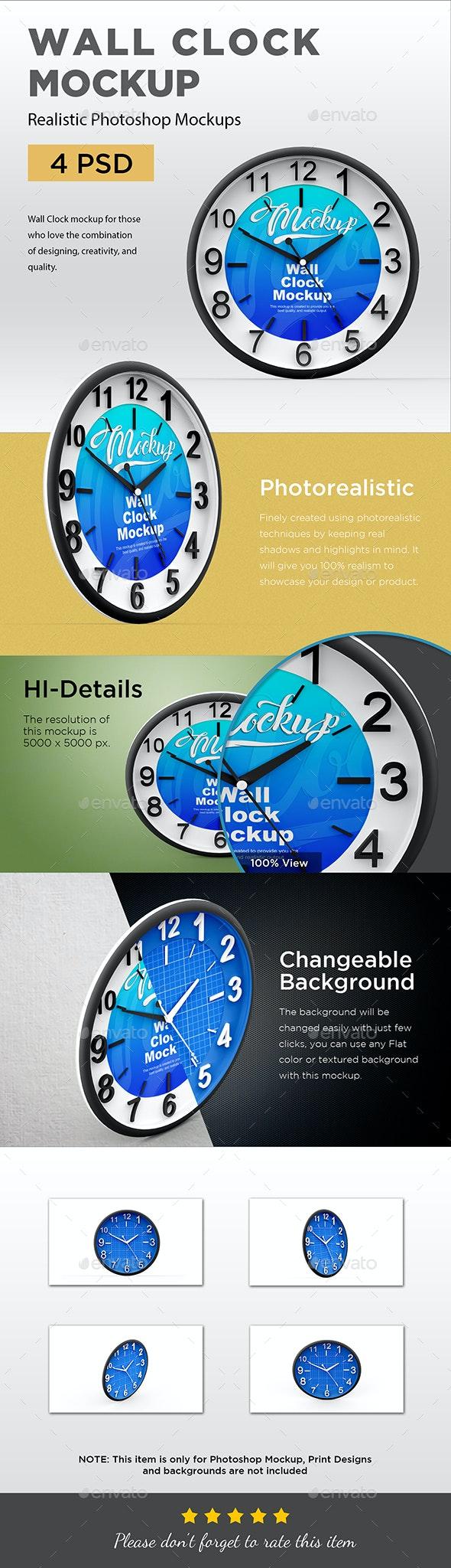 Wall Clock Mockup - Product Mock-Ups Graphics
