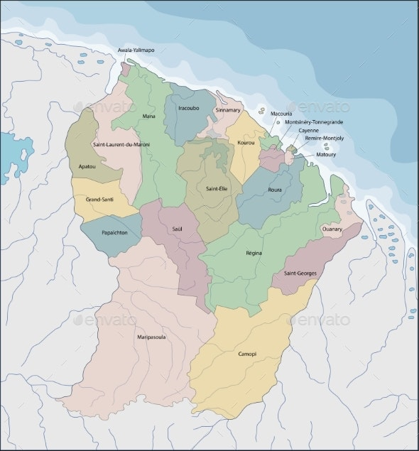 Map of French Guiana - Miscellaneous Vectors