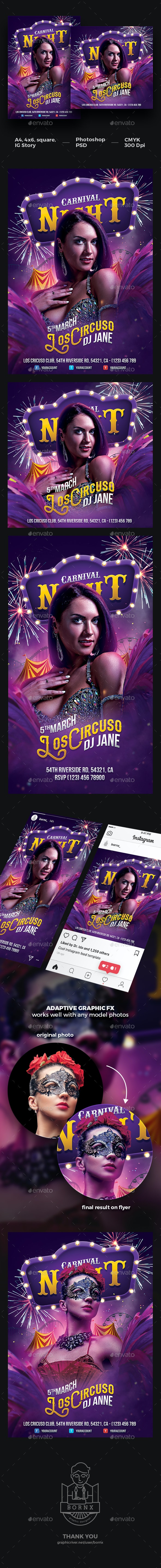 Carnival Party Flyer Template - Clubs & Parties Events