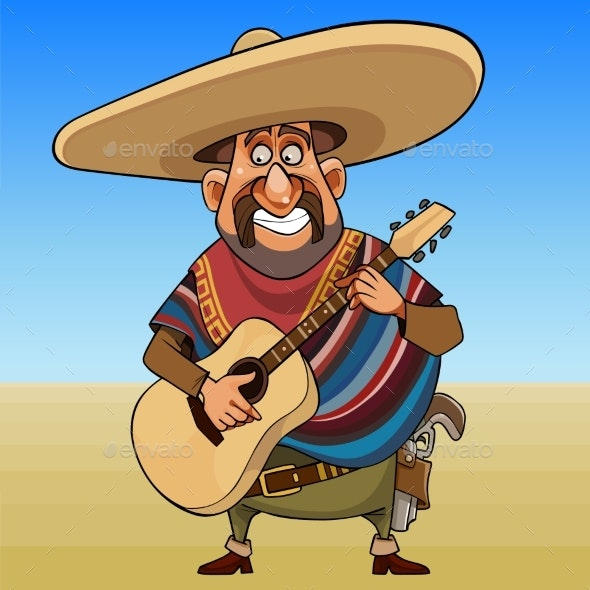 Cartoon Cheerful Mustache Man in a Sombrero - People Characters