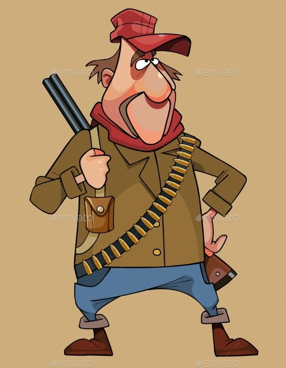 Cartoon Male Hunter with a Double Barreled Rifle - People Characters