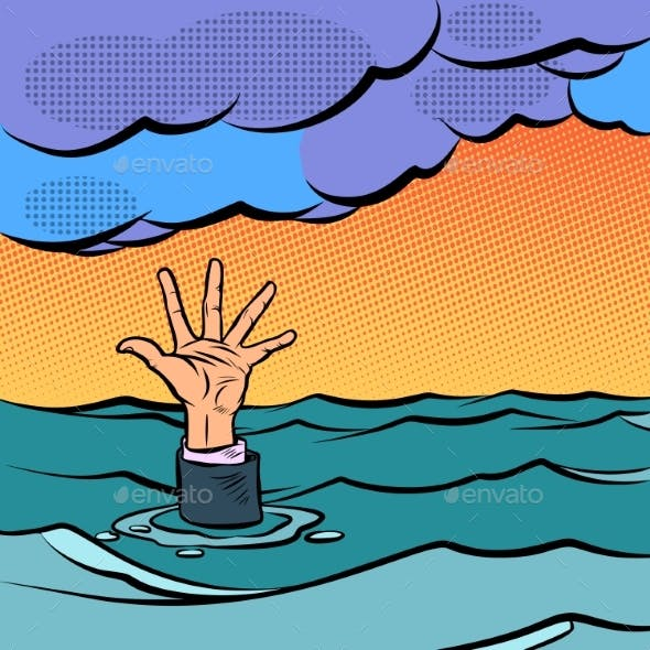 Hand Sinking in the Sea