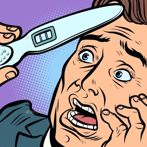 Pregnancy Test Scared Man Husband Father