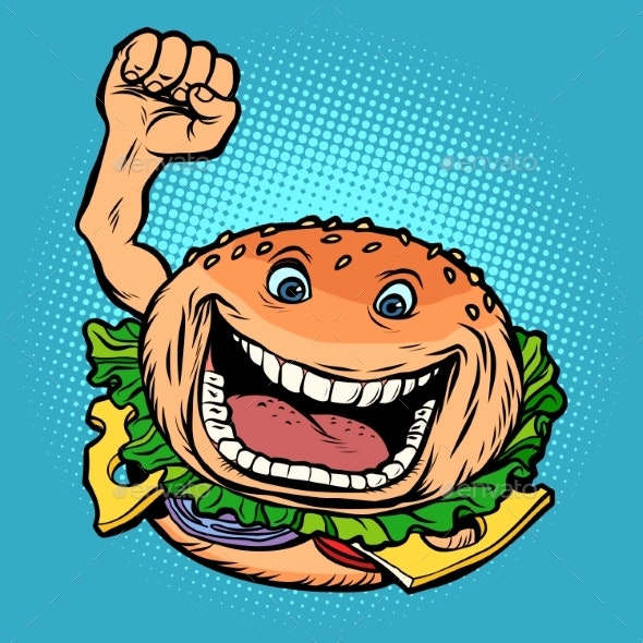 Joyful Character Fast Food Burger - Food Objects