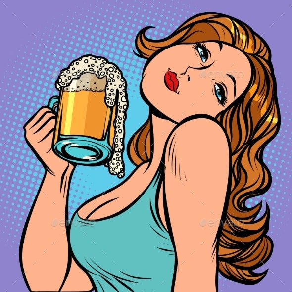 Woman with a Mug of Beer in Profile - People Characters