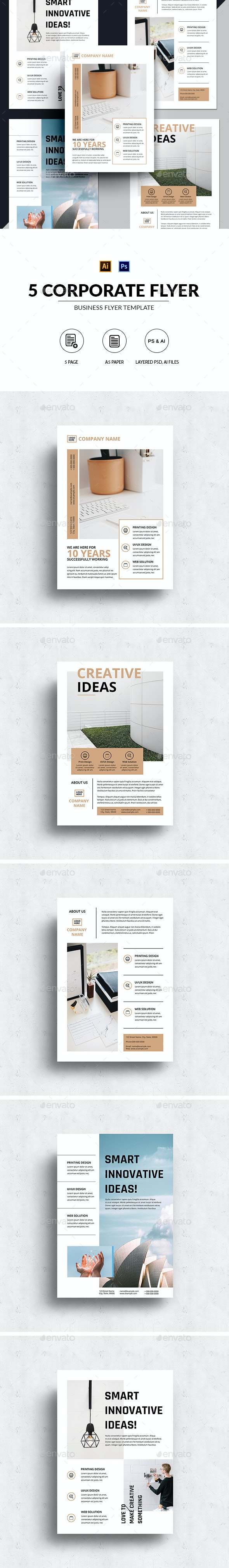 5 Minimalist Corporate Flyer Template - Corporate Flyers