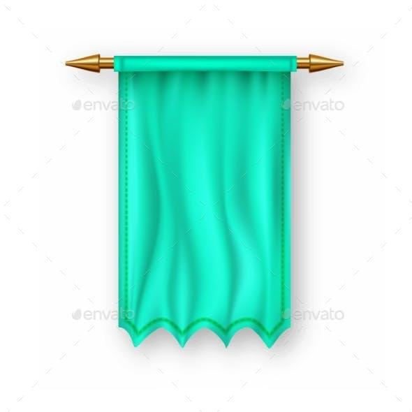Green Pennant Flag Vector