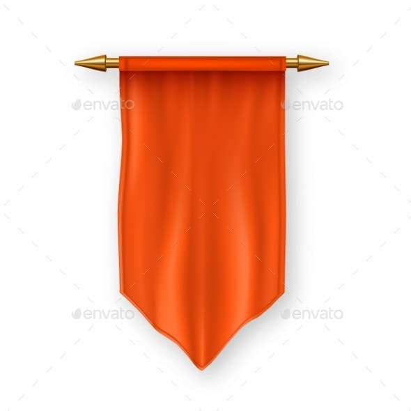 Orange Pennant Flag Vector - Man-made Objects Objects