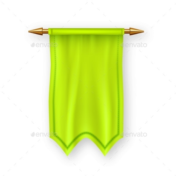 Yellow Pennant Flag Vector - Man-made Objects Objects