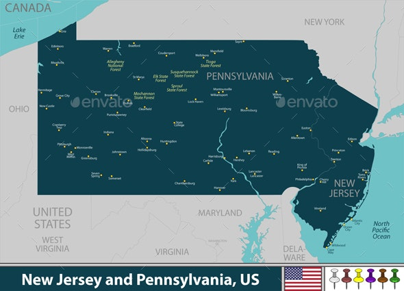 New Jersey and Pennsylvania United States - Travel Conceptual