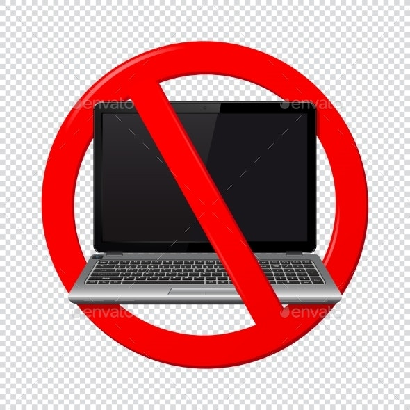 No Laptop Sign Isolated on Transparent - Miscellaneous Vectors