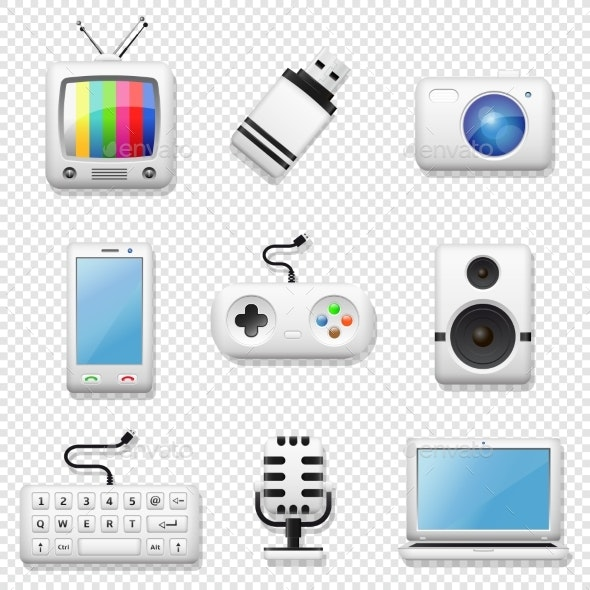 Digital Devices Icons Set Isolated - Man-made Objects Objects