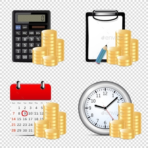 Finance Icons Isolated on Transparent Background - Concepts Business