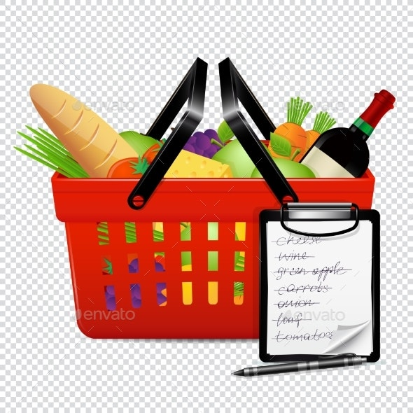 Shopping Basket with Foods and Shopping List - Food Objects