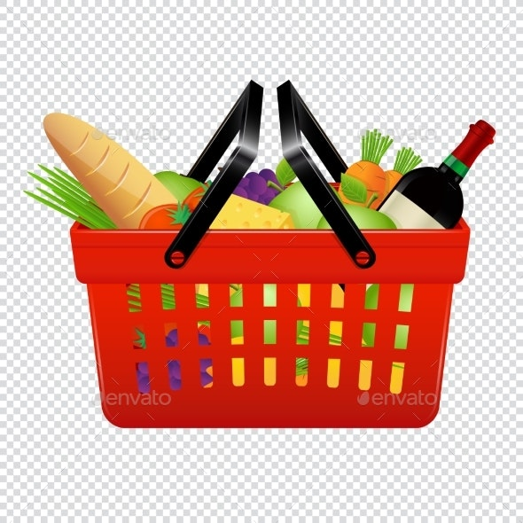 Shopping Basket with Groceries Isolated - Food Objects