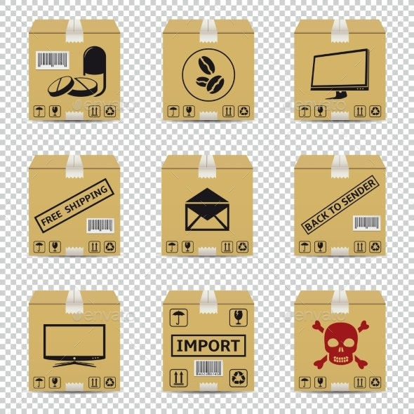 Shipping Cardboard Boxes Isolated - Miscellaneous Vectors
