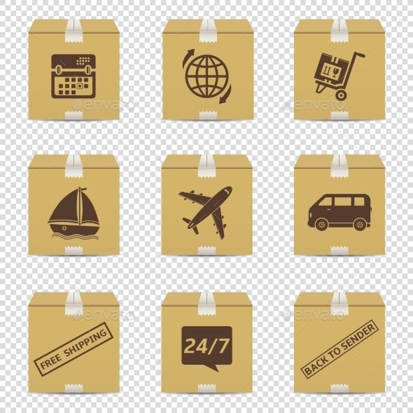Cardboard Box Icons with Delivery Signs Isolated - Miscellaneous Vectors