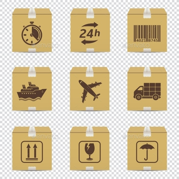 Cardboard Box Icons with Logistic Signs Isolated - Miscellaneous Vectors