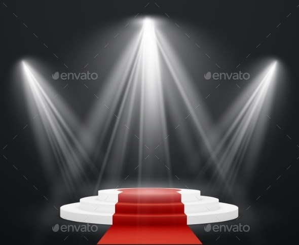 Stairs with Red Carpet Spotlight Scene - Miscellaneous Seasons/Holidays